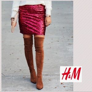 NWT H&M Pencil Pink/Red Sequin Skirt